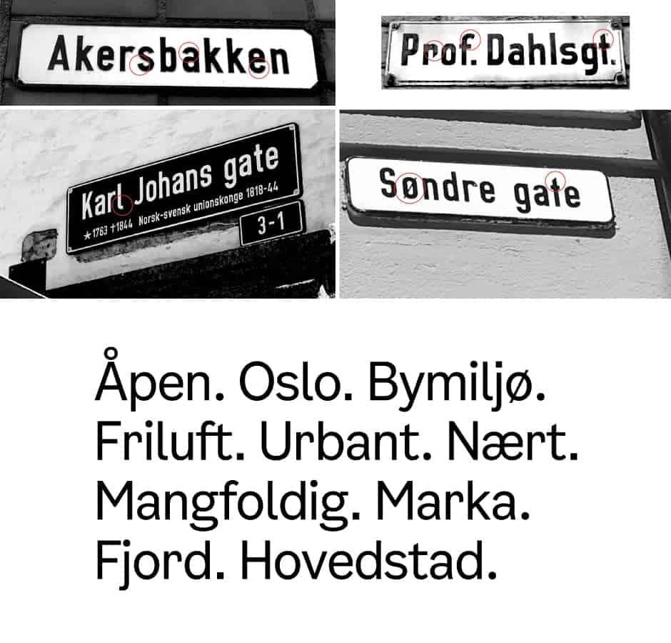 Oslo Comune font derivato dai segnali stradali